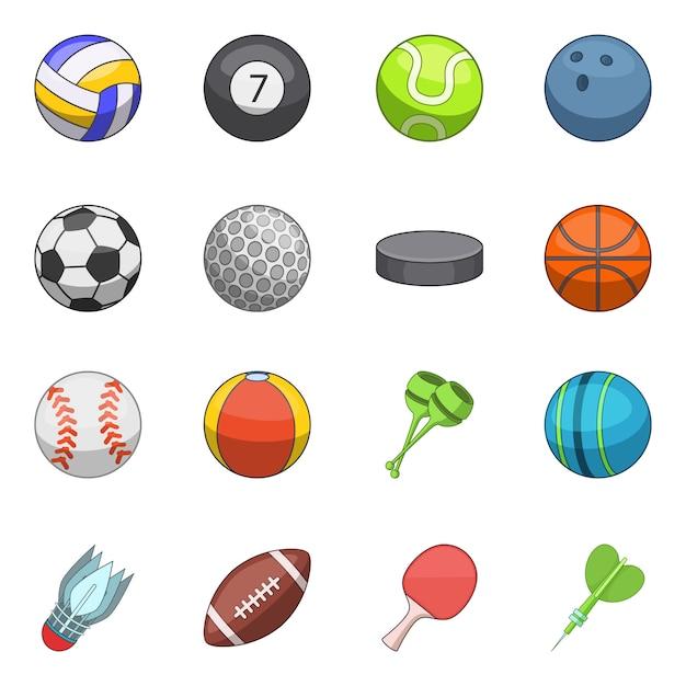スポーツボールのアイコンを設定 Premiumベクター