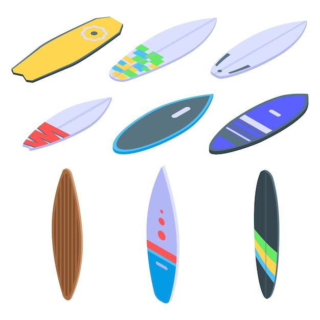 Набор иконок для серфинга, изометрический стиль Premium векторы