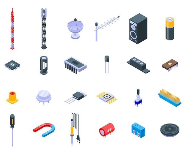Набор иконок радиоинженер Premium векторы
