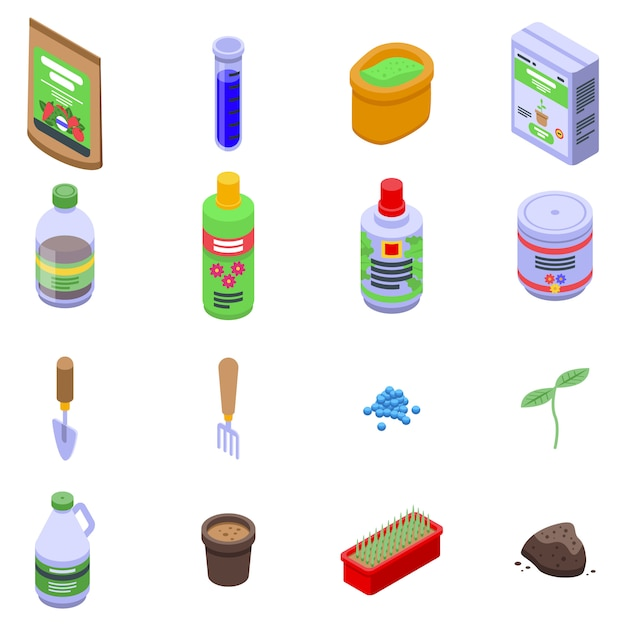 Набор иконок удобрений, изометрический стиль Premium векторы