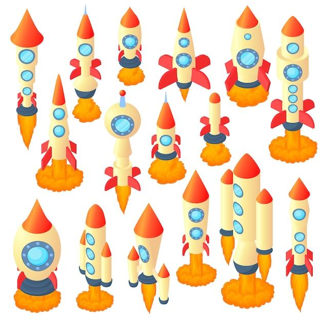 漫画のスタイルでロケットのアイコンを設定 Premiumベクター