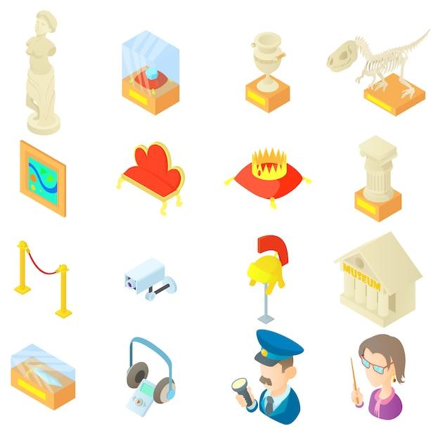 Набор иконок музея в мультяшном стиле Premium векторы