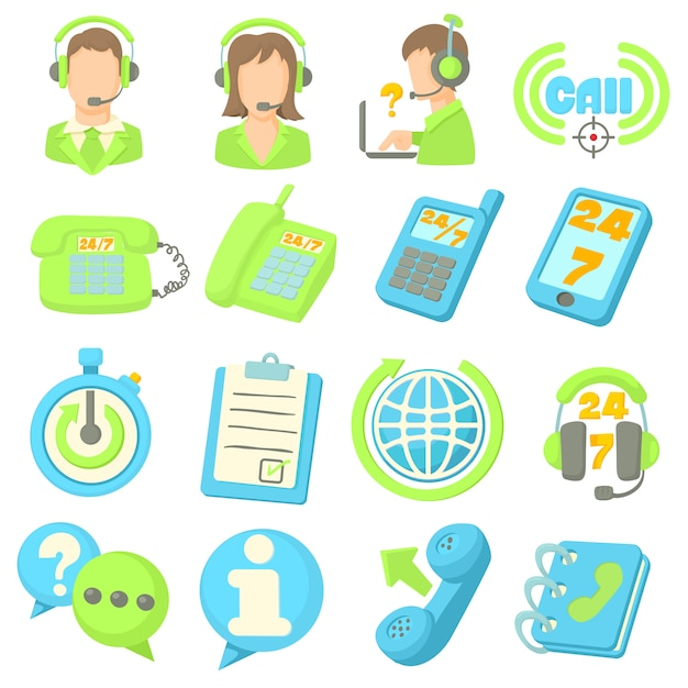 コールセンターアイテムのアイコンを設定 Premiumベクター
