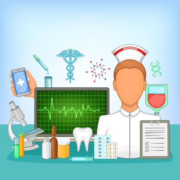 Концепция медицины аптека, мультяшном стиле Premium векторы