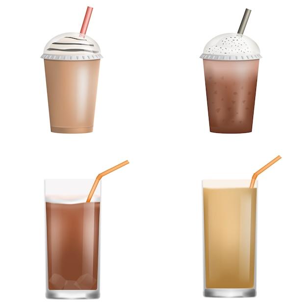 Свежий ледяной кофе значок набор. реалистичный набор свежего ледяного кофе векторные иконки для веб-дизайна на белом фоне Premium векторы