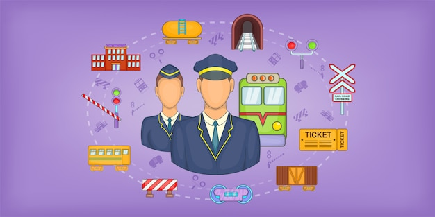 鉄道もの水平背景、漫画のスタイル Premiumベクター