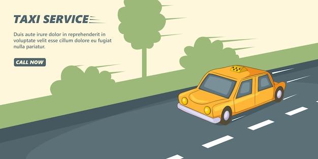Такси сервис баннер горизонтальный, мультяшный стиль Premium векторы