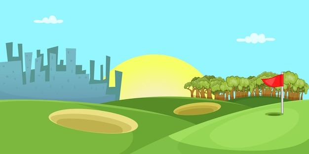 ゴルフコースの水平方向の背景、漫画のスタイル Premiumベクター
