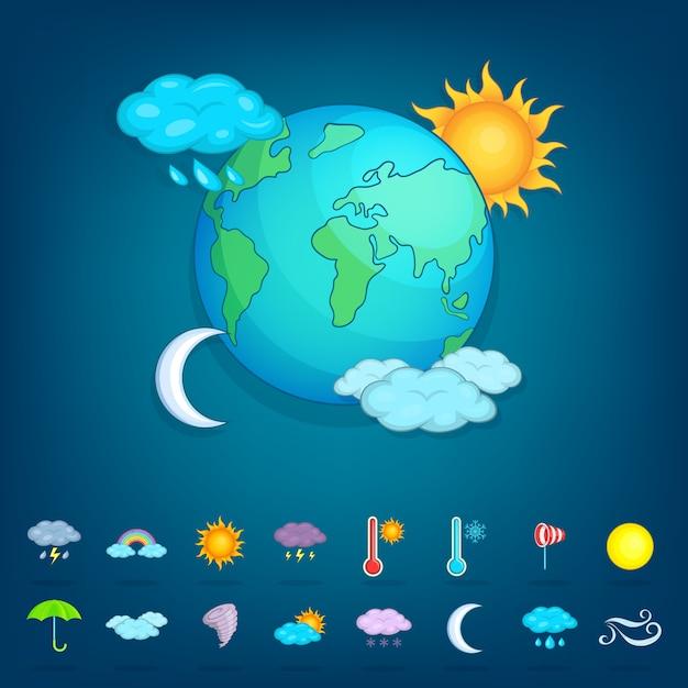 天気記号概念惑星、漫画のスタイル Premiumベクター