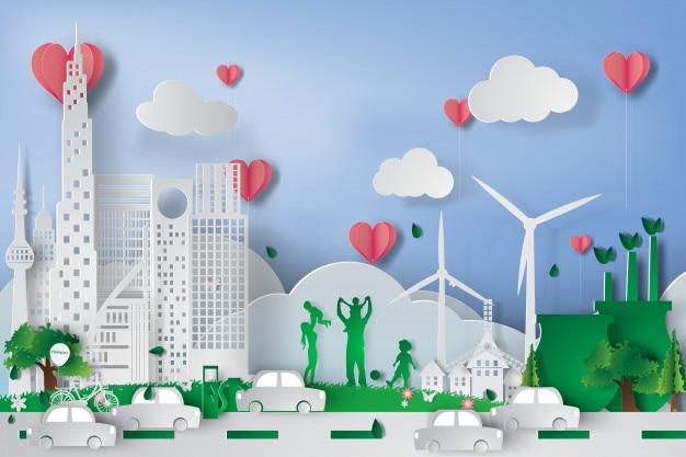 Зеленый город с элементами экологической концепции Premium векторы