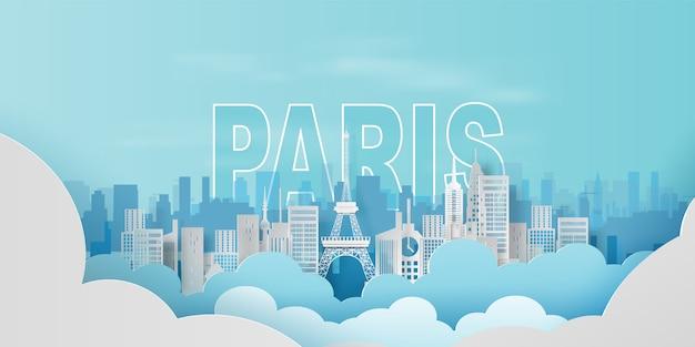 Путешествующий праздник эйфелева башня город париж Premium векторы