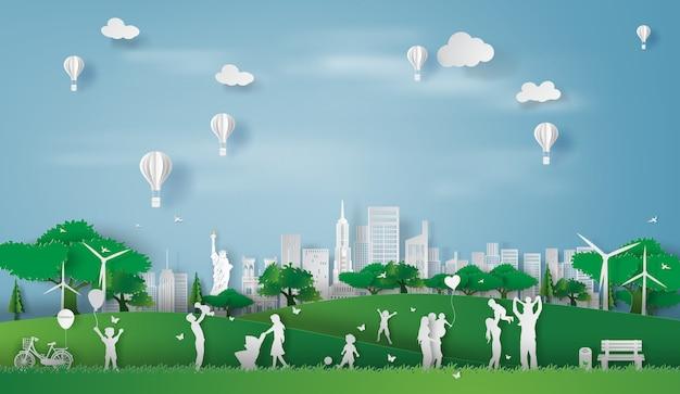 Эко-пейзаж нью-йорк счастливая семья Premium векторы
