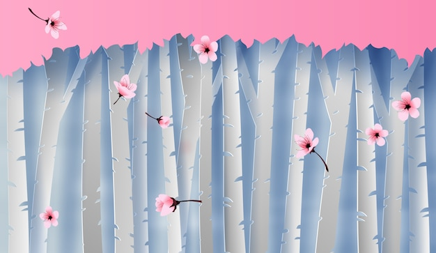森林ビューシーンカラフルな咲く桜 Premiumベクター
