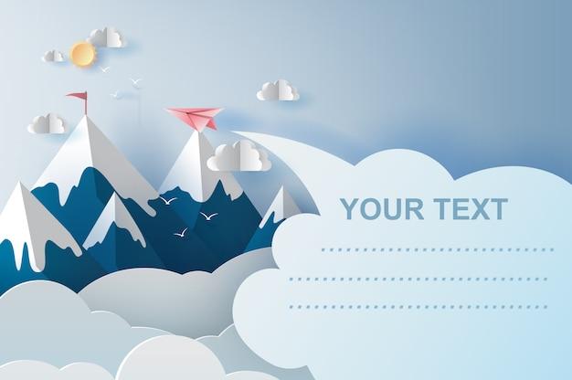 Самолеты, летающие над горами на голубом небе Premium векторы