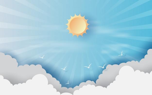 青い空に雲と背景 Premiumベクター