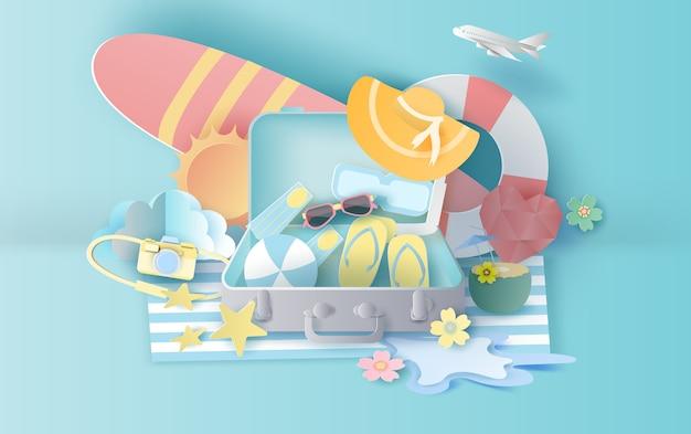スーツケースのコンセプトと夏のシーズン Premiumベクター