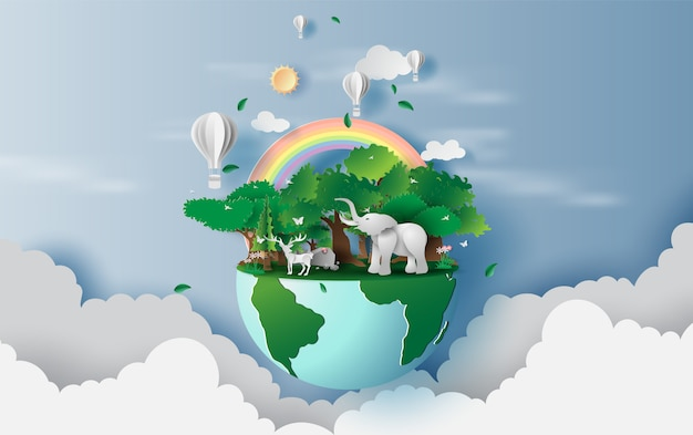 世界環境とアースデー Premiumベクター