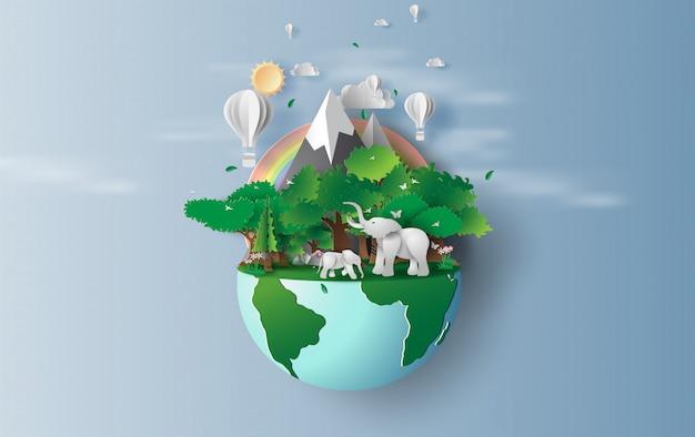 Мировой день окружающей среды и земли Premium векторы