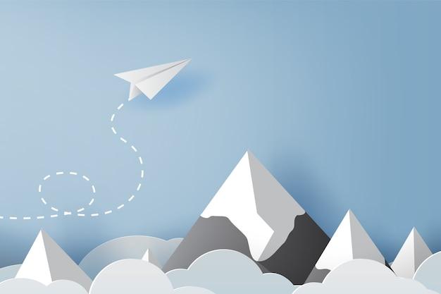 Оригами из бумаги белый самолет летит по небу Premium векторы