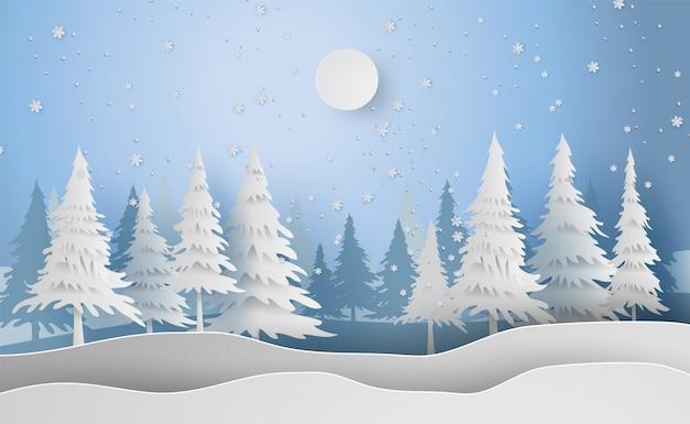 休日の背景に風景メリークリスマスと新年 Premiumベクター