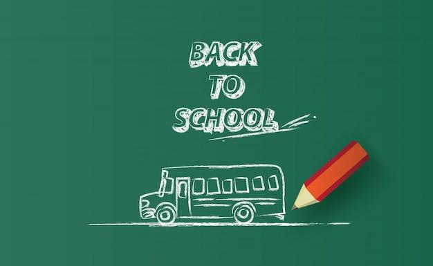 Обратно в школу автобус горизонтальный баннер, рисование на доске. Premium векторы