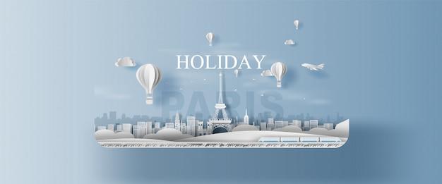 Панорама праздника достопримечательности ландшафта эйфелева башня париж город франция. Premium векторы