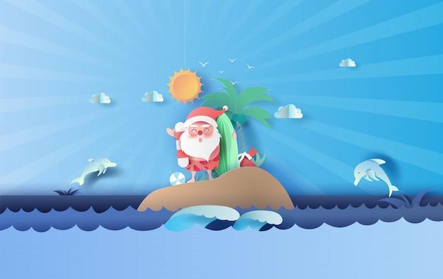 島のビーチスーツ旅行を着てサンタクロースの笑顔 Premiumベクター