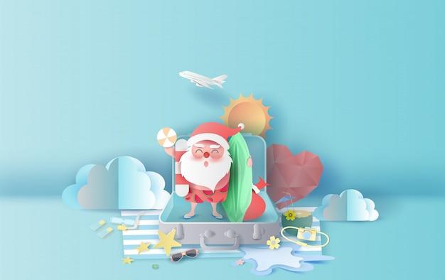 Летний рождественский сезон с чемоданом Premium векторы
