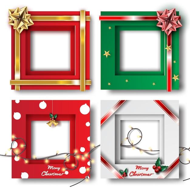 メリークリスマスと新年あけましておめでとうございますフレーム写真 Premiumベクター