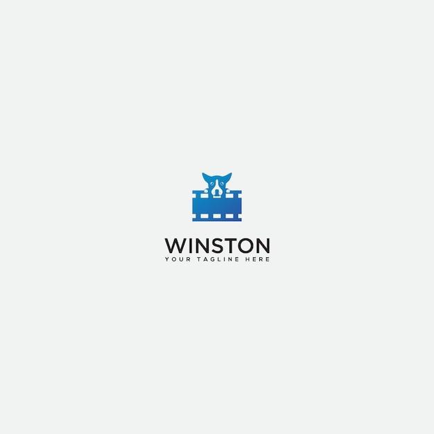 Логотип студии детской собаки, видео логотип собаки Premium векторы