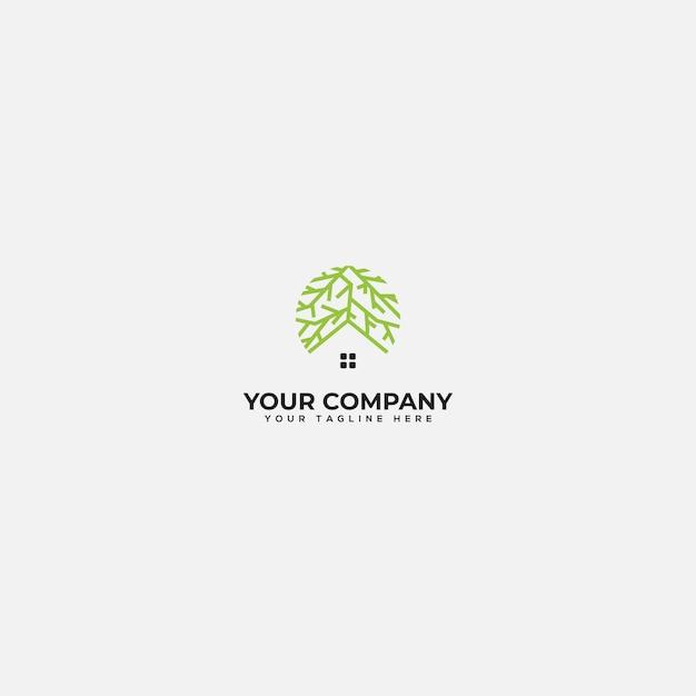 Корень и логотип дома, зеленый дом и логотип корня Premium векторы