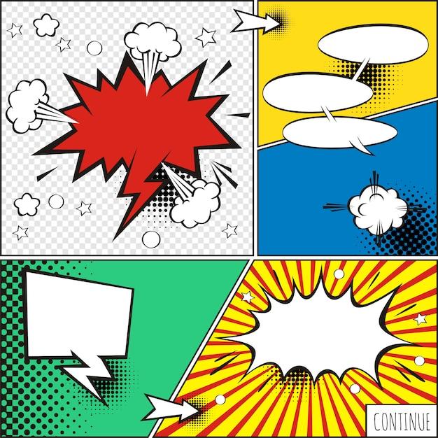漫画泡とハーフトーンシャドウを持つ要素のセット Premiumベクター