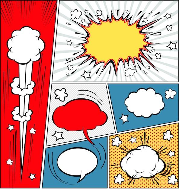 漫画のスピーチの泡と漫画のストリップの背景 Premiumベクター