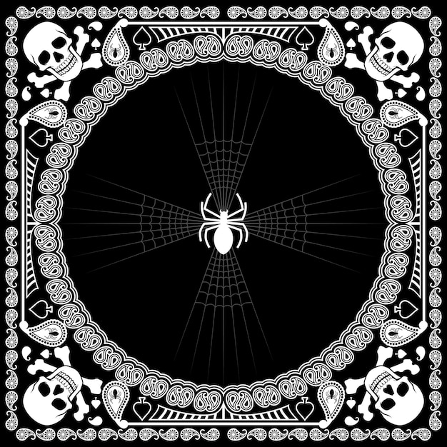 Бандана с узором черепа и паука Premium векторы