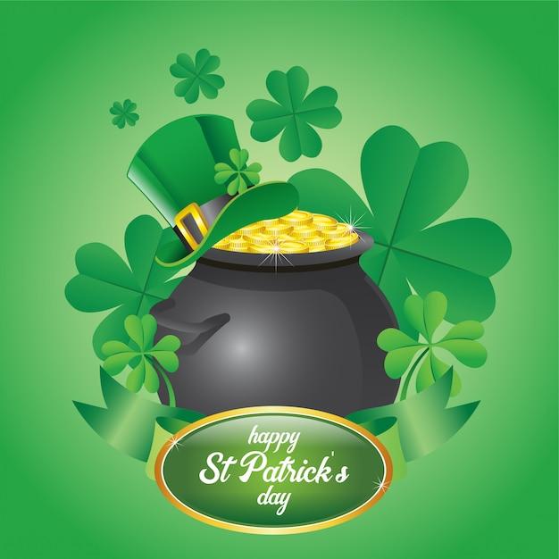 聖パトリックの日は金貨がいっぱい入った鍋をデザインする Premiumベクター