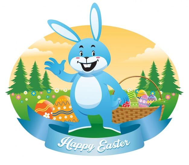 イースターのウサギの卵がいっぱい入ったかご Premiumベクター