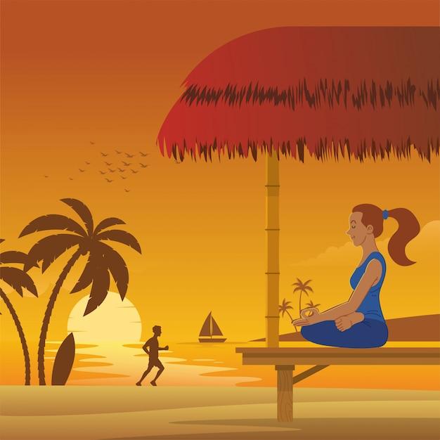 ビーチでの女性の瞑想 Premiumベクター