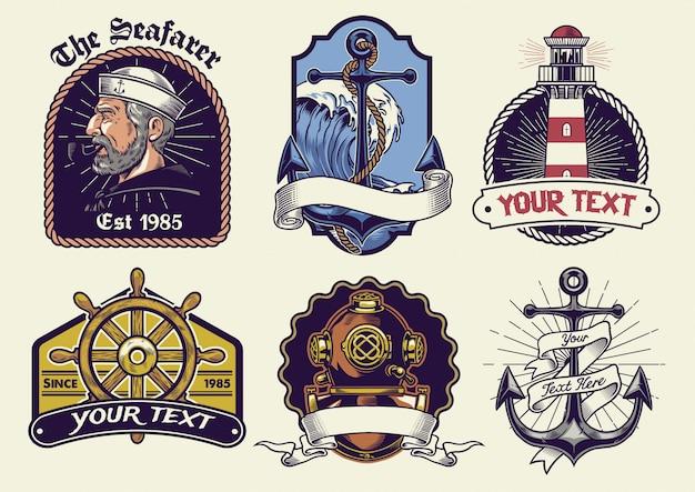ビンテージデザインの航海バッジデザインコレクション Premiumベクター
