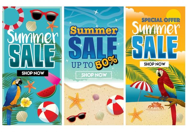 熱帯夏チラシデザインセット Premiumベクター