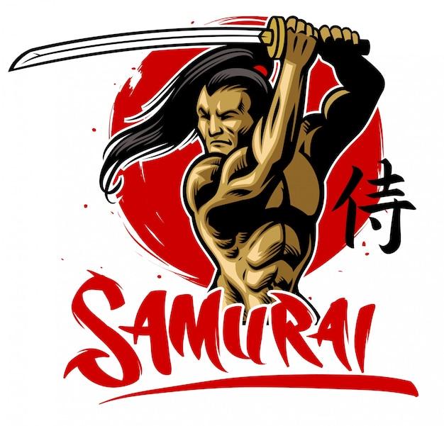 筋肉ボディのサムライ戦士はサムライカタナを握る Premiumベクター