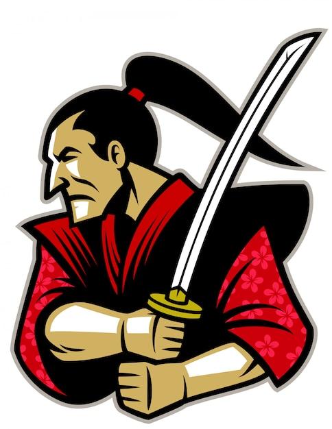 伝統的な刀を持つ侍戦士 Premiumベクター