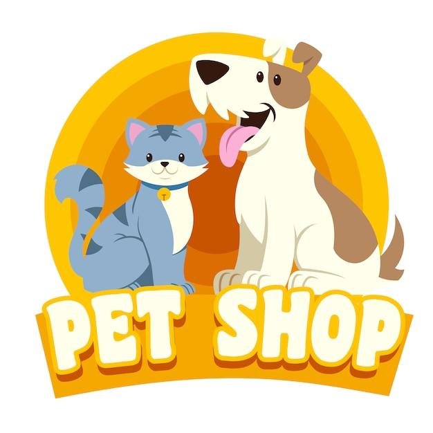 猫と犬のペットショップのロゴ Premiumベクター