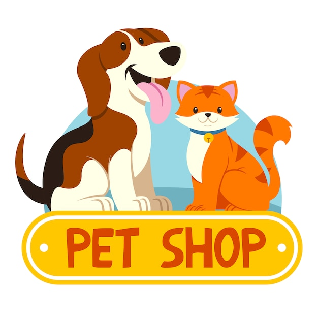 猫と犬のペットショップ Premiumベクター