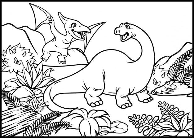 ブロントサウルスと翼竜のぬりえ Premiumベクター