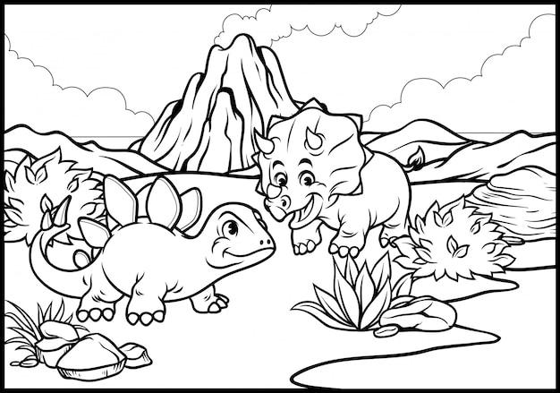 漫画トリケラトプスとステゴサウルスの着色ページ Premiumベクター