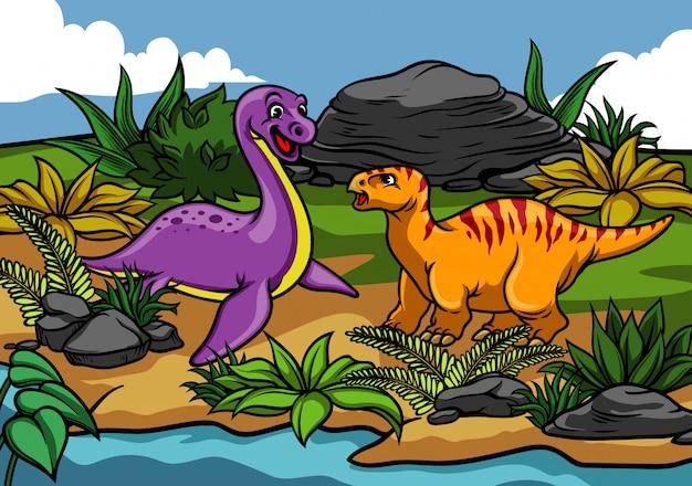 自然の中で幸せな恐竜漫画 Premiumベクター