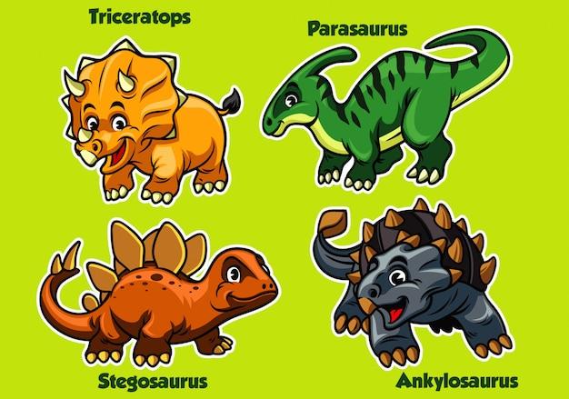 Набор детского динозавра Premium векторы