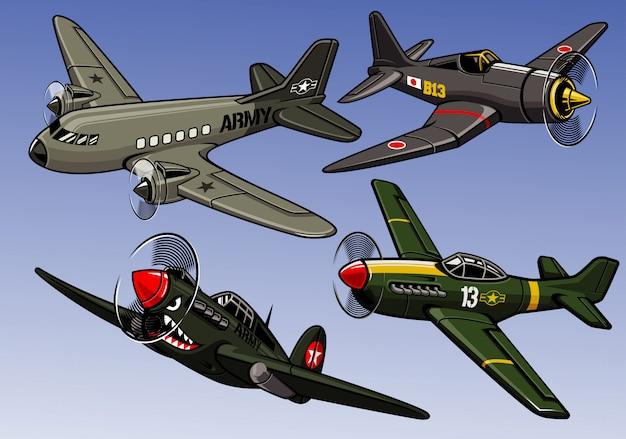 Коллекция военных самолетов второй мировой войны Premium векторы