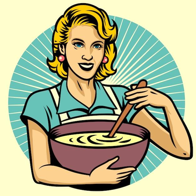 台所で料理をする女性 Premiumベクター