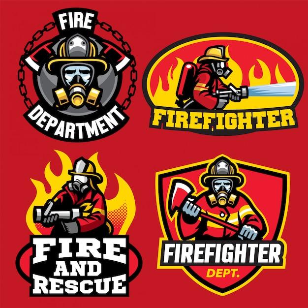消防士のロゴデザインのセット Premiumベクター